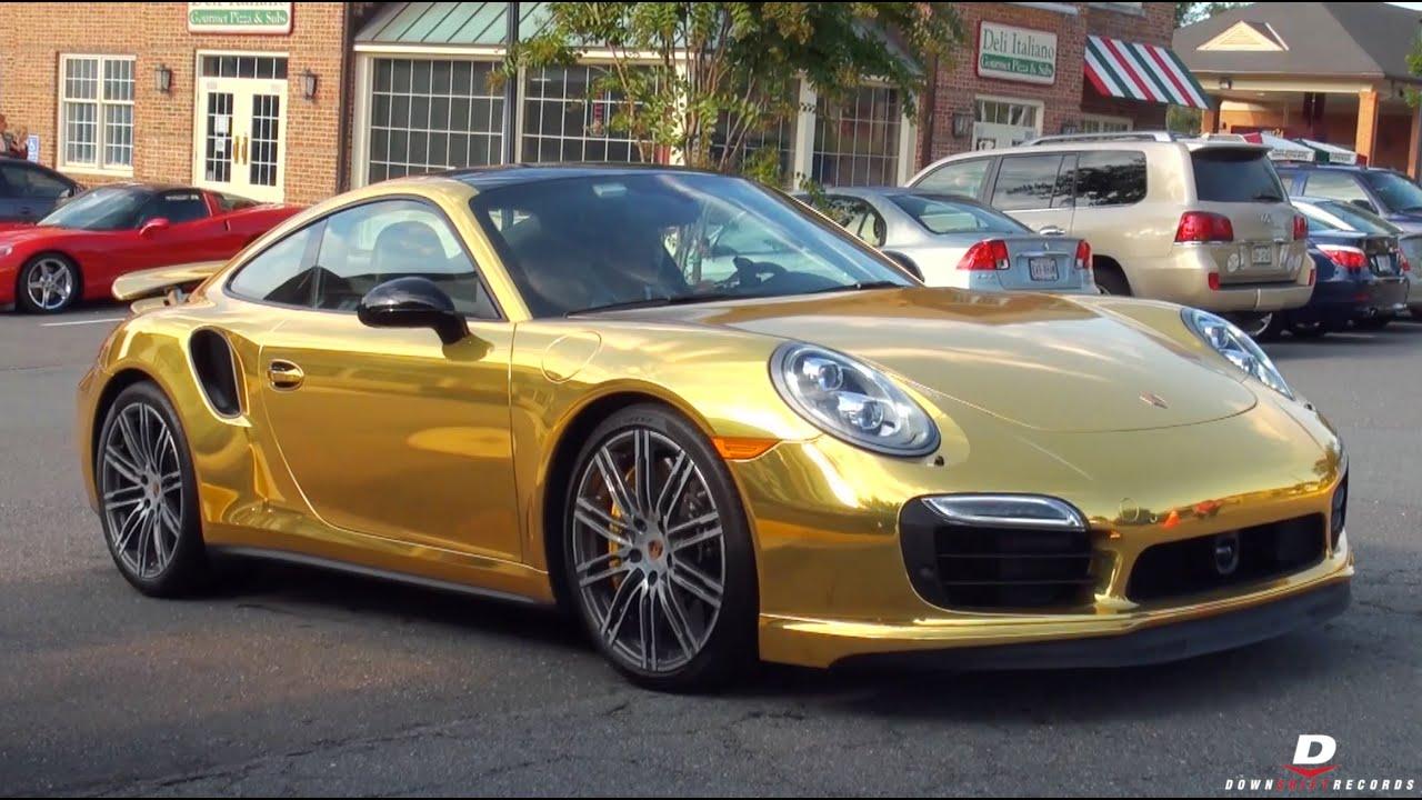 Chrome Gold Porsche 911 Turbo S Acceleration Walkaround Youtube