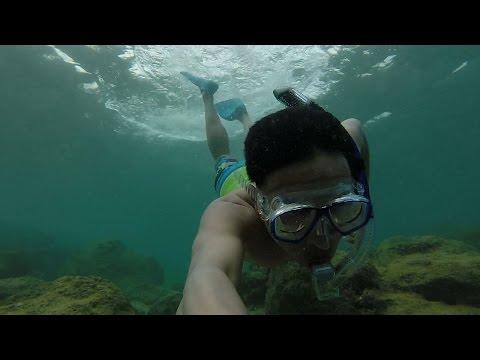Snorkeling at Sharks Cove North Shore, Oahu, Hawaii