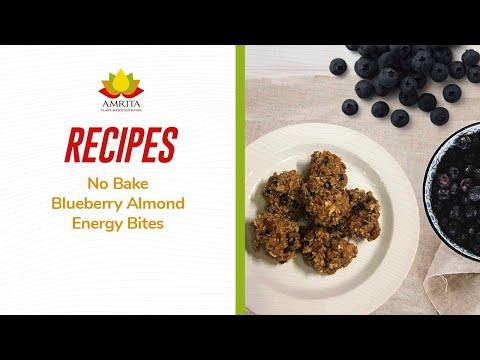 Amrita Health Foods Plant-based, Allergy-free Recipes: No Bake Blueberry Almond Energy Bites