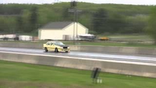 Turbo civic hatch beats Turbo Volvo drag race, auto to manual swap , Craig 13.86 @ 106mph
