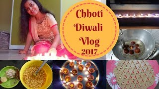 Chhoti Diwali 2017 Vlog || Celebrating Bhut Chaturdashi || Making Gulab Jamun, Namak Pare
