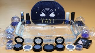 'Navy' Mixing 'Navy' EYESHADOW and Makeup,glitter Into Clear Slime! 'Navy SLIME'