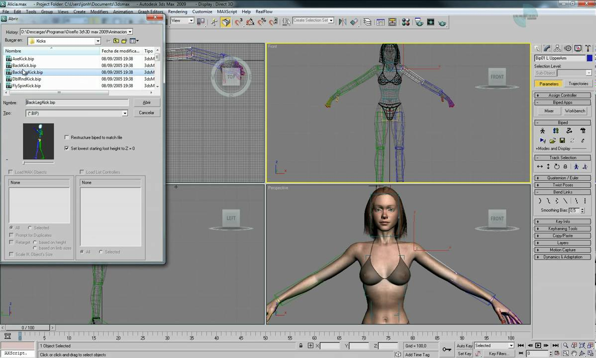 3d studio animar modelos 3d con bipeds youtube for Programa para crear muebles 3d