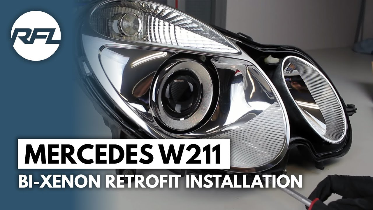 mercedes w211 e class bi xenon projector replacement retrofit tutorial afs headlight  [ 1280 x 720 Pixel ]