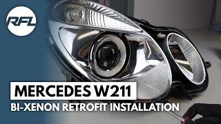 Mercedes W211 E class Bi-xenon projector replacement retrofit tutorial (AFS headlight)