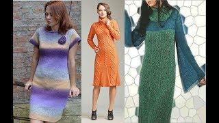 Слайд шоу - вязаные платья спицами 3