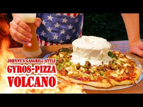 Gyros-Pizza Volcano vom Gasgrill - BBQ Grill Rezept Video - Die Grillshow 254b