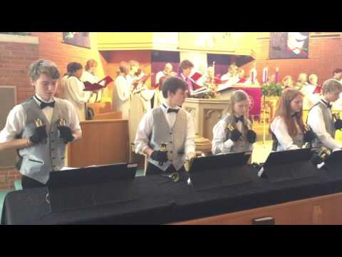 Handbells playing Joy to the World with choir - Immanuel UCC 12/18/16