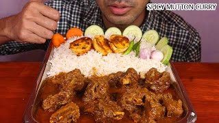 omg!extreme Spicy Mutton curry eating ever with huge quantity rice,raw onion,cucumber,carrot eating