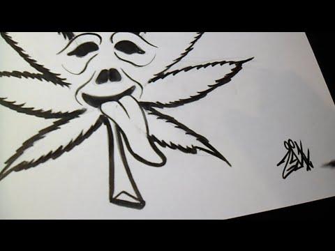 Comment Dessiner Marijuana Leaf Graffiti Youtube