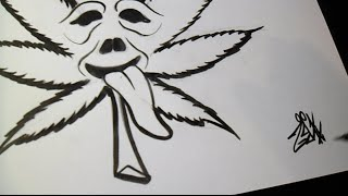 Comment dessiner marijuana leaf Graffiti