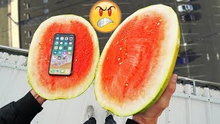 iPhone X Water Test! Extreme Conditions || CAN A WATERMELON PROTECT iPhone X from 100ft DROP TEST!