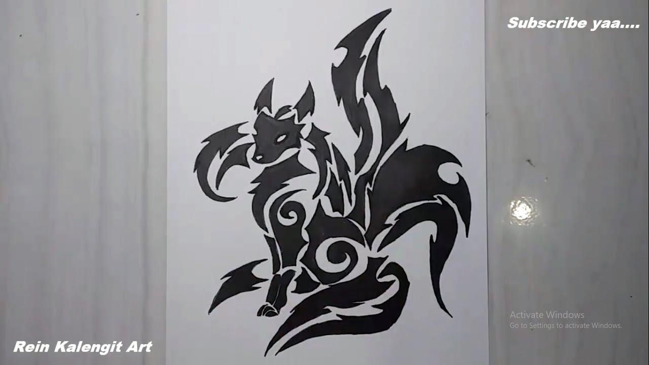 Menggambar Tatto Tribal Musang Ekor 4