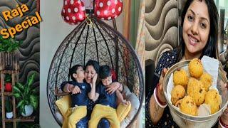 Pahili Raja Celebration...Confusion Mein Banayi Odisha Special Suji Manda Pitha🌰🌰...