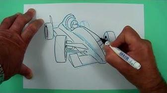 Wie zeichnet man einen Formel 1 Rennwagen ? Zeichnen für Kinder