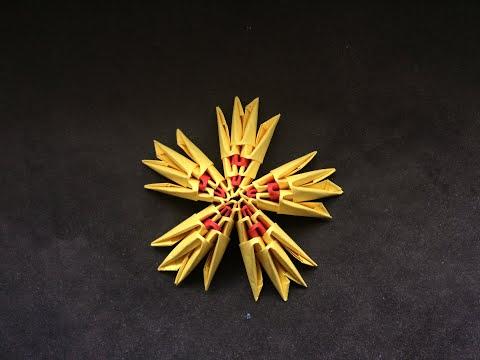 Модульное оригами желтая звезда из бумаги своими руками