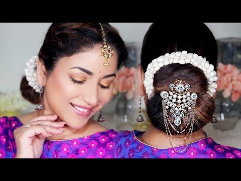 5 Minute Traditional Juda/Low Bun With Gajra || Easy Festival Hairstyle (Giveaway 3) thumbnail