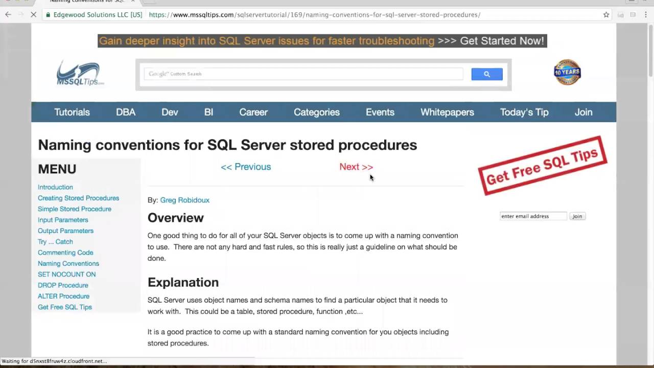 Sql server stored procedure tutorial theory try catch youtube maxwellsz