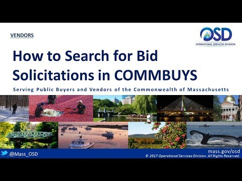 VENDORS:  How to Search for Bid Solicitations in COMMBUYS
