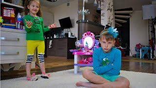 Ksysha and Nikita Pretend Play with Makeup Table Toy | Magic Mirror