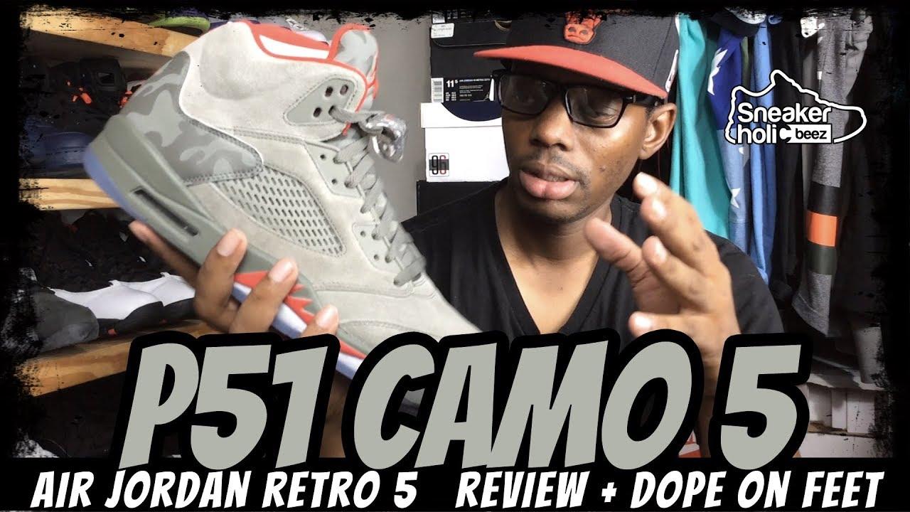 7886a4606e700 AIR JORDAN RETRO 5 P51 CAMO   DARK STUCCO REVIEW AND ON FEET - YouTube