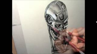 How  to draw in 3D  THE TERMINATOR Cyborg  skull (fast track)