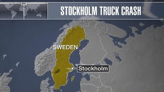 Truck plows into Stockholm department store