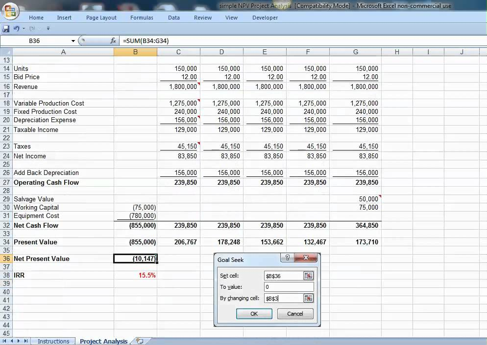 Excel  Npv Project AnalysisMp  Youtube