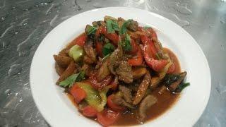 Телятина с овощами на Воке(Быстро, Вкусно)