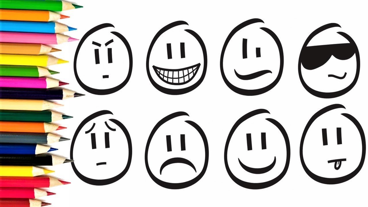 How To Draw Emoticon Coloring Book For Kids Teach Drawing And