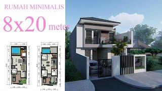 Rumah minimalis 8 x 20 meter + Kolam renang