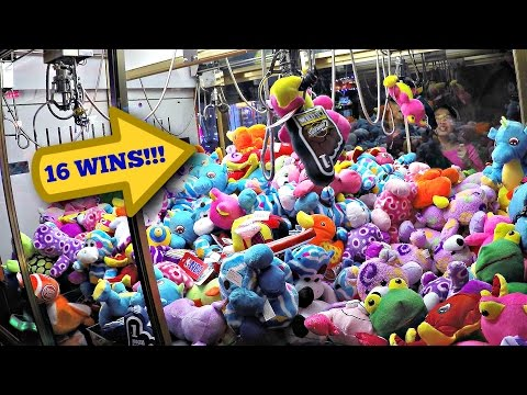 Claw Machine Massive 16 Wins & 2-For-1 Winning Plush Toys: Kids Playing Arcade Skill Crane Game