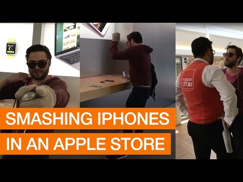 SHORT - Angry Customer Smashes iPhones With Metal Ball In Apple Store
