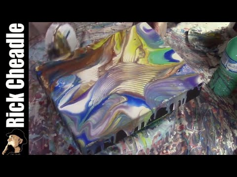 Calming Vibrations. Soothing Music:  Zen Acrylic  Art Demo Paint Pour and Duster