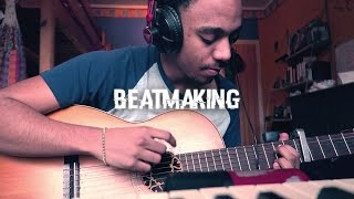 MAKING A CHILL GUITAR BEAT , MY FIRST HOOK | Behind the grind 04