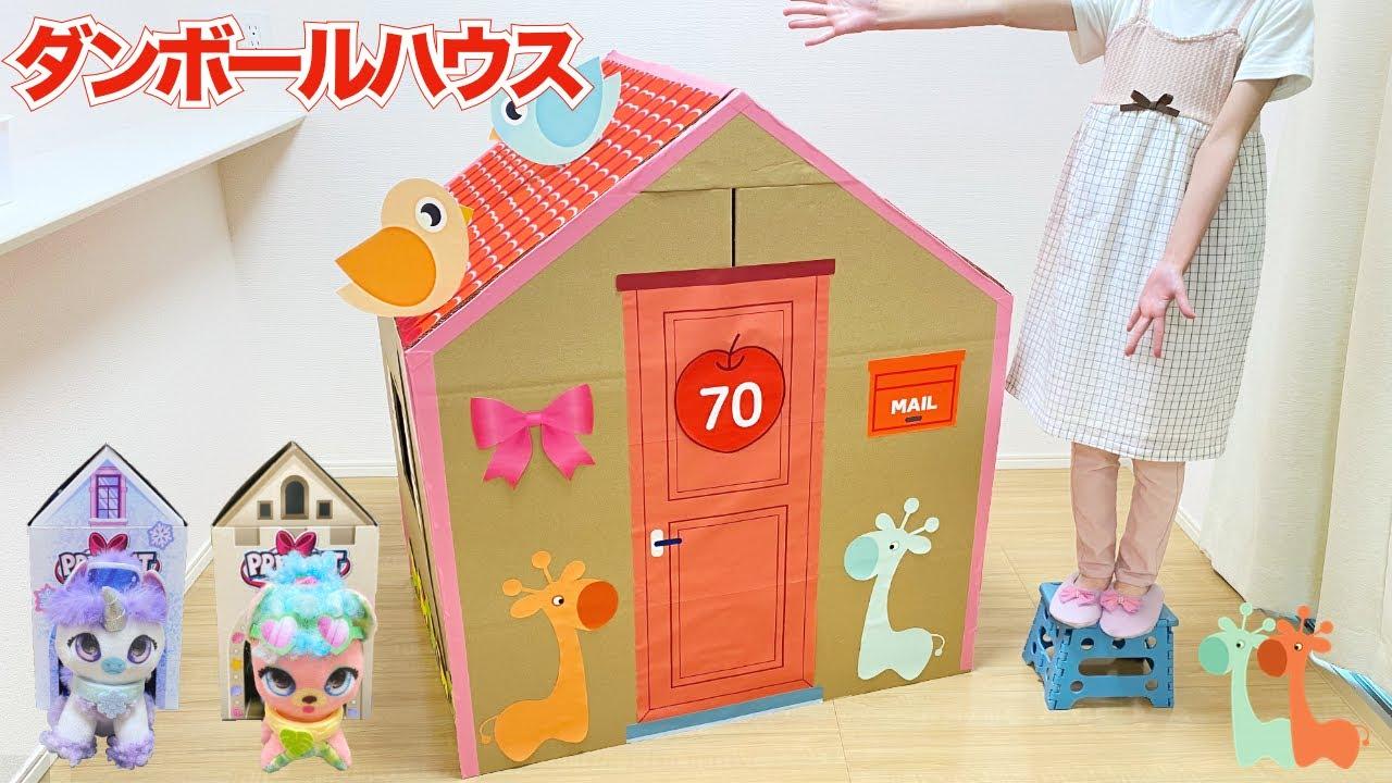 かわいい ダンボールハウス作り DIY プレゼントペット ミニ / Cardboard House Challenge | Present Pets Minis