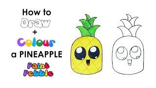 pineapple drawing easy cartoon draw step drawings paintingvalley getdrawings