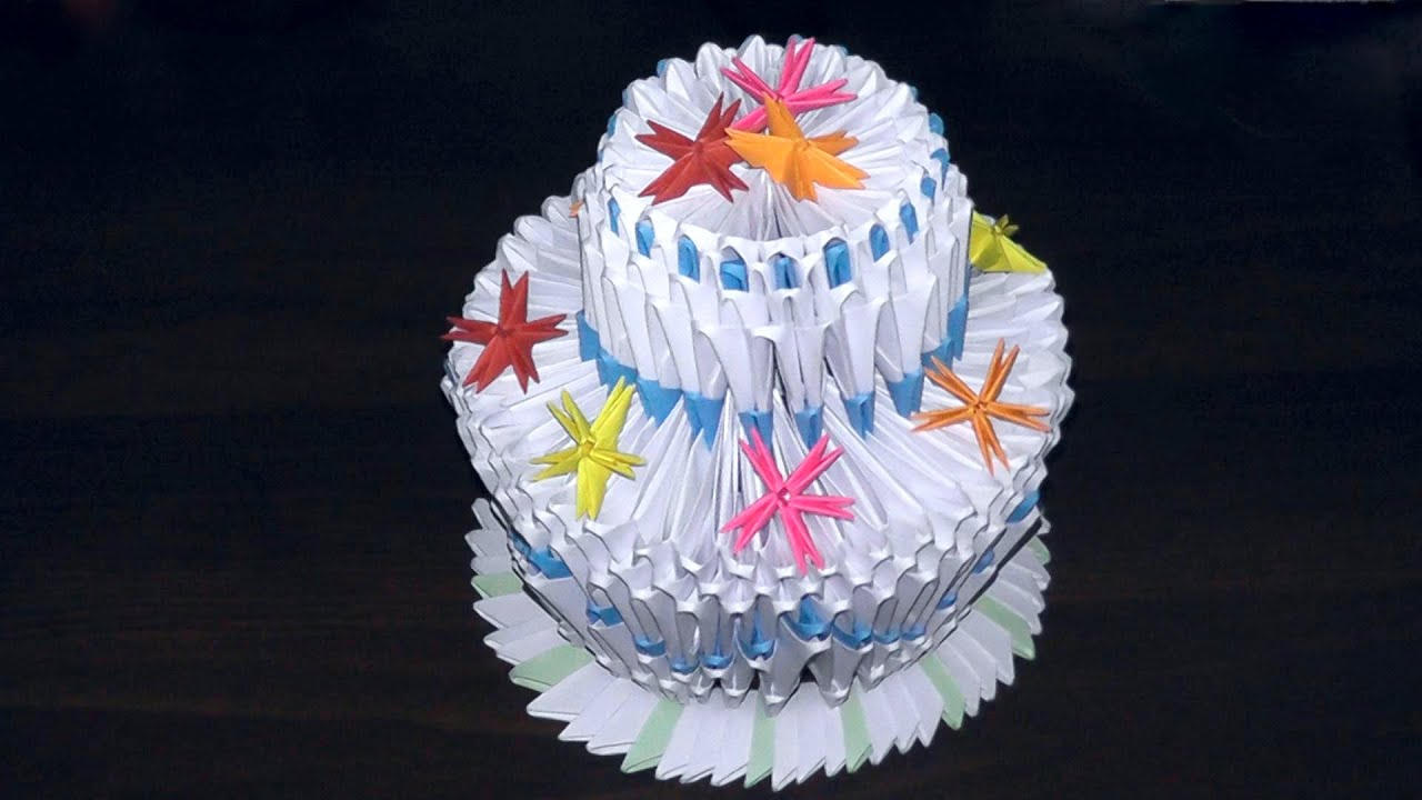 3D Origami Birthday Cake Pie Tutorial