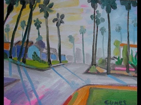 Sun, Palms and Fog: Plein Air Landscape Oil Painting by Paul Cumes artist extraordinaire 2008