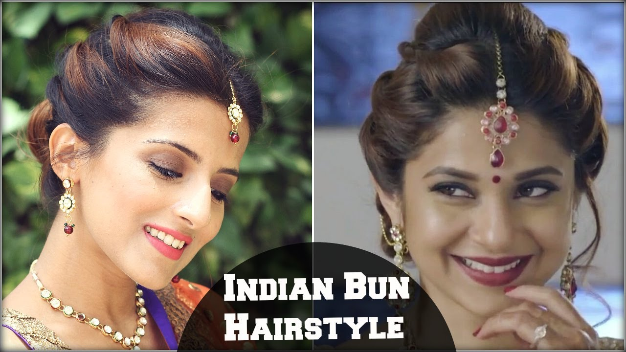 beyhadh- jennifer winget's easy bun hairstyle for indian wedding occasion & party for medium hair