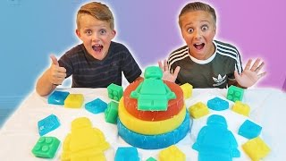 GIANT GUMMY CANDY LEGO JELL-O CAKE! Gummy Food VS Real Food | Kyle's Toys and Games