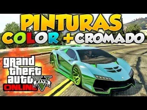 GTA V Online Pintura Color + Cromado Pinturas Extrañas y Raras Cromada Con Azul GTA 5 Online