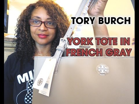1872fb2c1fdb Tory Burch York Tote in French Gray - YouTube