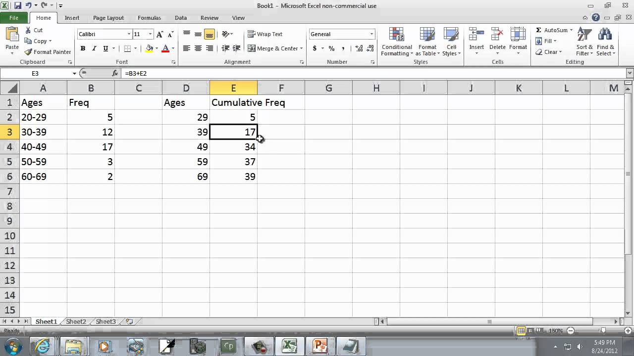 Excel 2010: Creating an Ogive Graph - YouTube