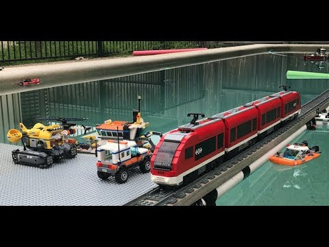 Model Railway Toy Train Scenery -2018 Awesome Lego Train Set through the Garden, Pool and House