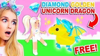 How To Get A *FREE* DIAMOND GOLDEN Unicorn Dragon In Adopt Me! (Roblox)