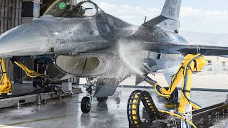 US Testing Super Fast Robots to Clean Dirty Fighter Jet