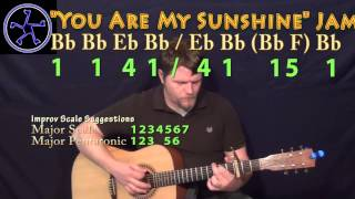 You Are My sunshine Jam in Bb Major - Acoustic Guitar Instrumental