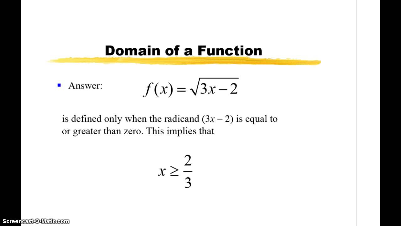 21 Examples Of Domain Function Notation Youtube