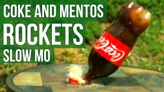 COKE AND MENTOS ROCKET - Slow Motion Experiment - Slow Mo Lab